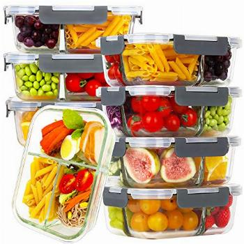Bayco 8 Pack Glass Meal Prep Containers 3 Compartment, Glass
