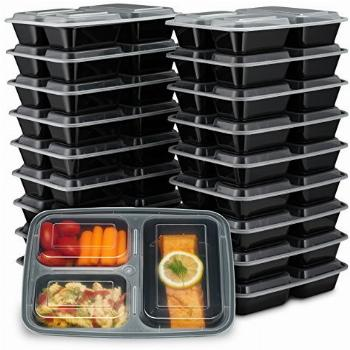 EZ Prepa [20 Pack] 32oz 3 Compartment Meal Prep Containers