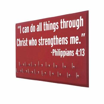 inspirational sports quote, Running Medal display , I can do all things through Christ who strength