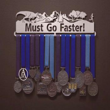 Must Go Faster! - Male, Female, OR Runner Couple Figures Available - Allied Medal Hanger Holder Dis