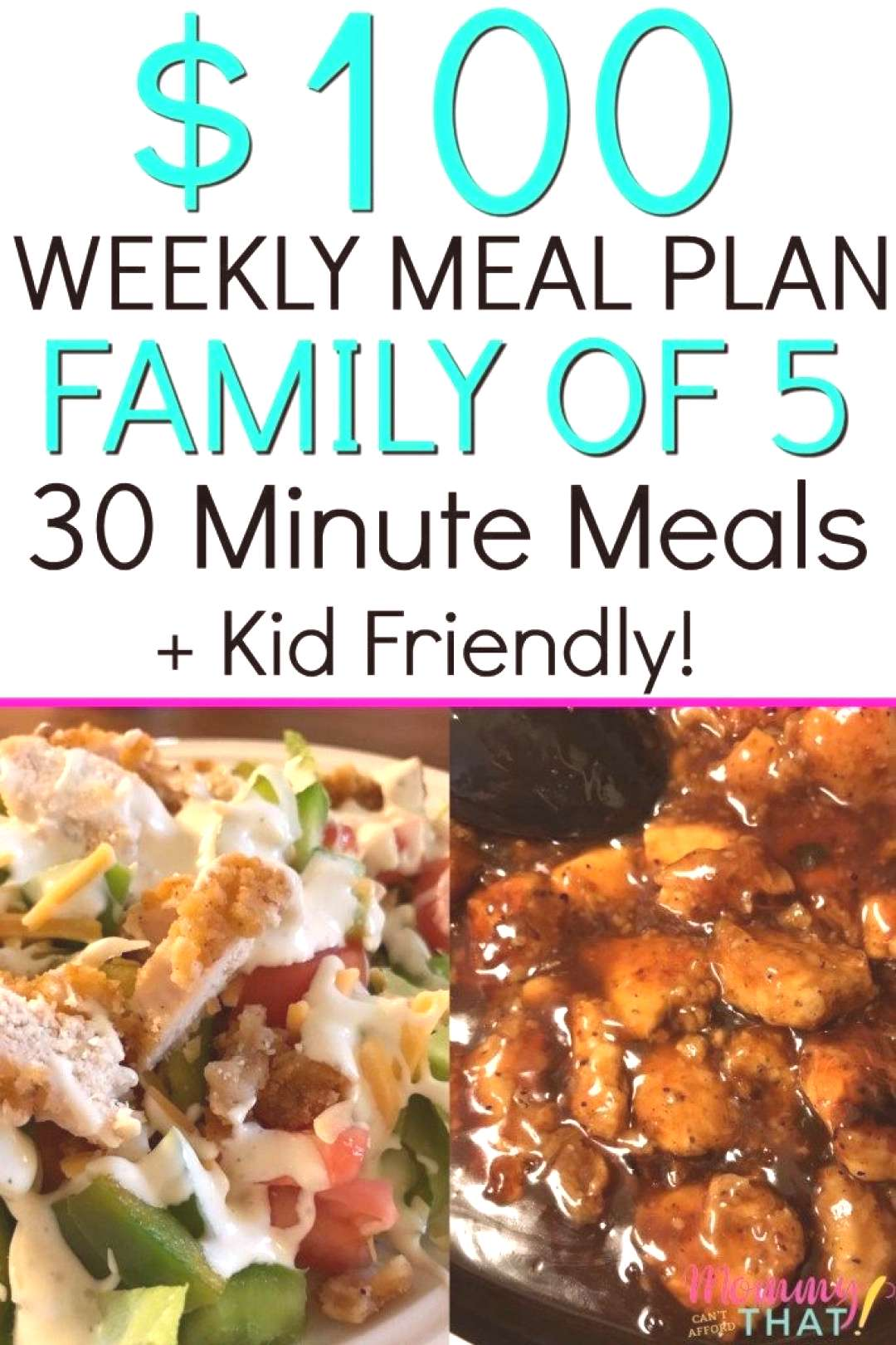 Meal planning on a budget for a family of 5. Links to recipes, grocery list and prices included. Ki