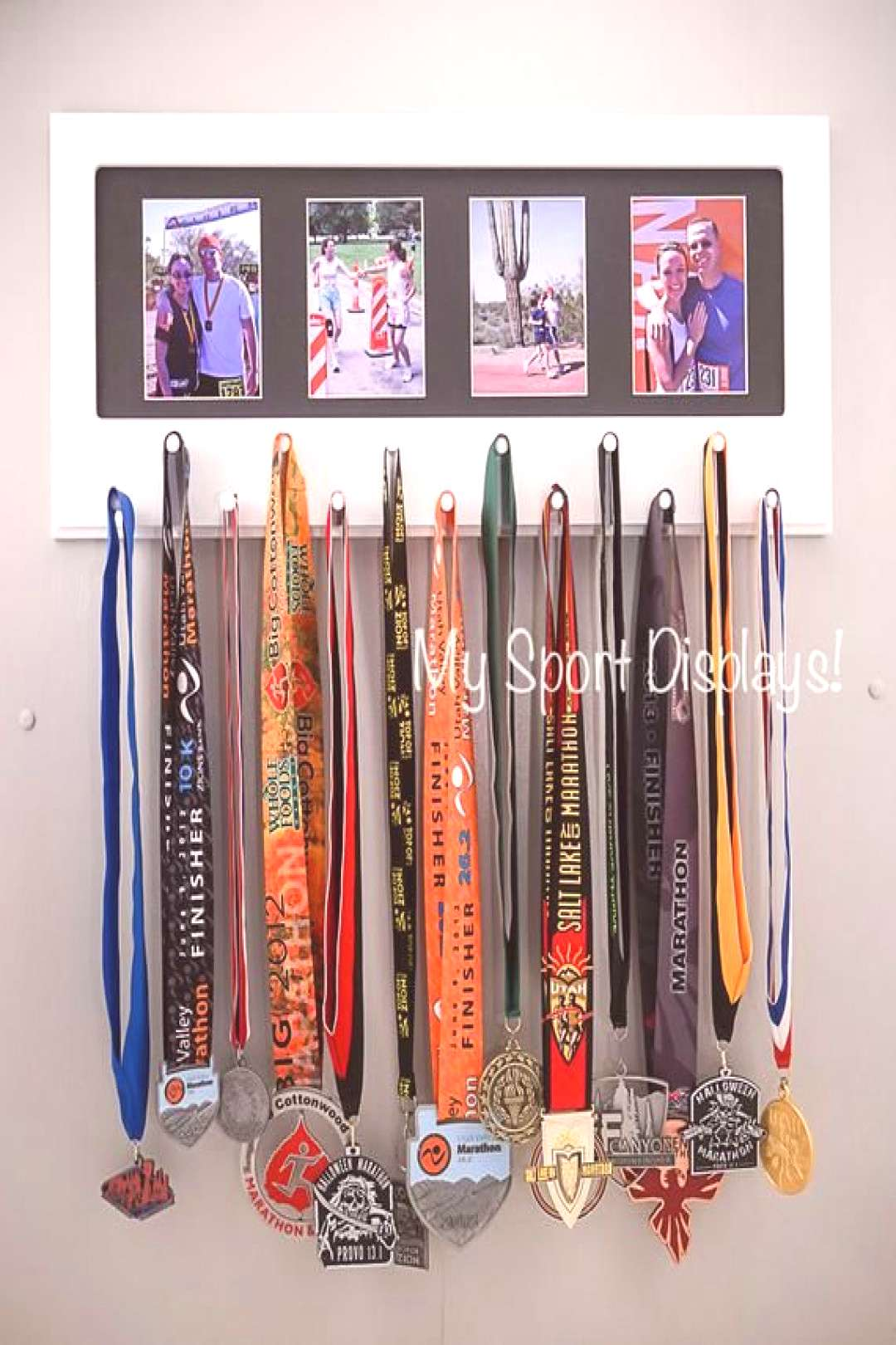 White Sport Medal display with photo frame. Black mat